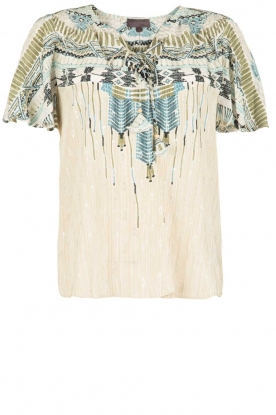 Hale Bob |  Silk lace-up top Lucy | blue