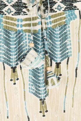 Hale Bob | Zijden lace-up top Lucy | blauw