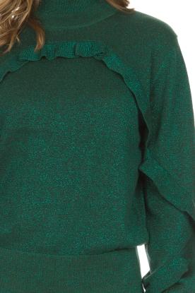 Munthe | Glittertrui met ruches Nailah | groen