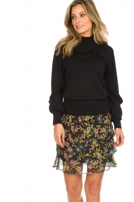 Munthe |  Sweater with ruffles Nailah | black