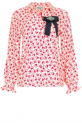 Essentiel Antwerp |  Blouse with red print Police | Cream