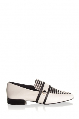 What For |  Striped leather loafers Lucya | black & white