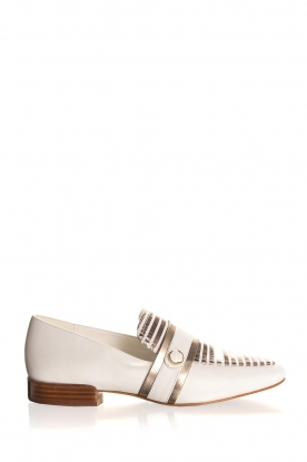 What For |  Striped leather loafers Lucya | white