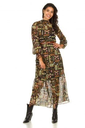 Dante 6 |  Maxi dress with print Valkyrie | black