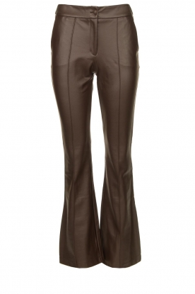 Nenette | Faux leather flared pants Erica | brown