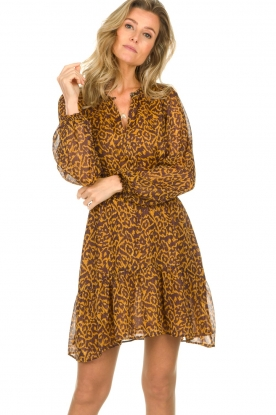 Dante 6 |  Dress with panther print Okala | brown