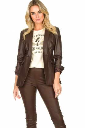 Nenette | Faux leather blazer Billa | bruin