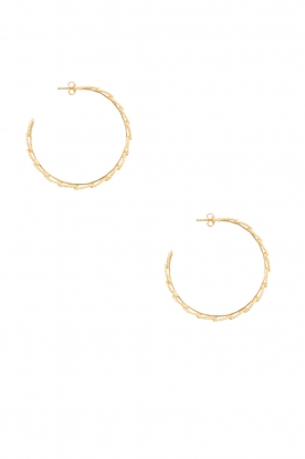 Betty Bogaers | 14k verguld gouden oorringen Feather Hoop | Goud