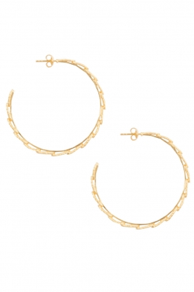 Betty Bogaers |  14k gold plated hoop earrings feather | Gold