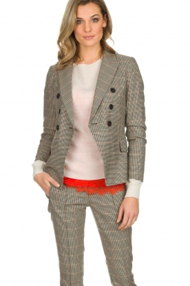 Set |  Houndstooth blazer Louise | brown