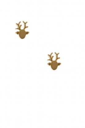 Betty Bogaers | 14k verguld gouden oorbellen Reindeer | goud