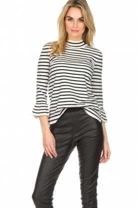Set |  Striped sweater with trumpet sleeves Lies | black & white