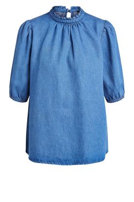 Set |  Denim blouse with puff sleeves Iris | blue