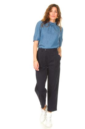 Look Denim blouse with puff sleeves Iris