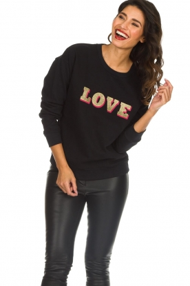 Set |  Sweatshirt with print Love | black