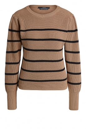 Set |  Cotton sweater with fine puff Louise | camel