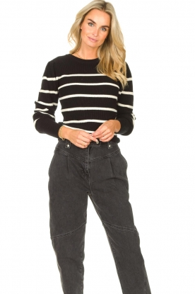 Set    Cotton sweater with fine puff Louise   black