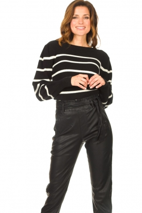 Set |  Cotton sweater with fine puff Louise | black
