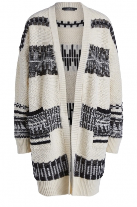 Set |  Knitted cardigan with aztec print Polly | natural