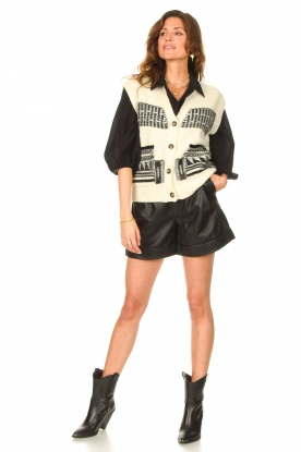Look Short knitted cardigan with aztec print Mae