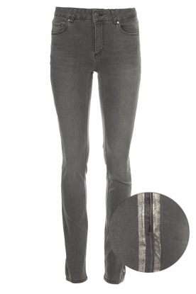 Set |  Skinny jeans with metallic side stripes Isa | grey