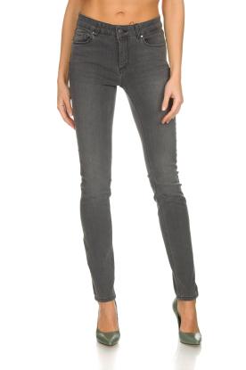 Set   Skinny jeans met metallic zijstrepen Isa   grijs
