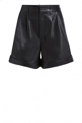 Set |  Leather paperbag short Lynn | black