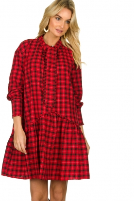 Munthe |  Checkered dress Jamilla | red
