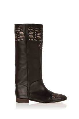 Hoss Intropia |  Leather boots Indian | black