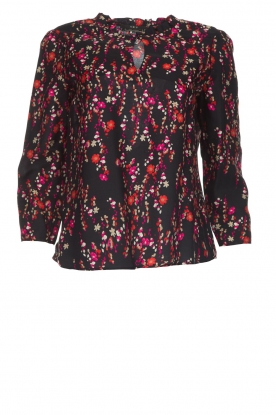 Set |  Blouse with floral print Jenna | black