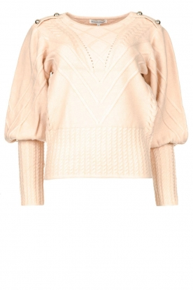 Silvian Heach |  Cable knit with puff sleeves Hortense | nude