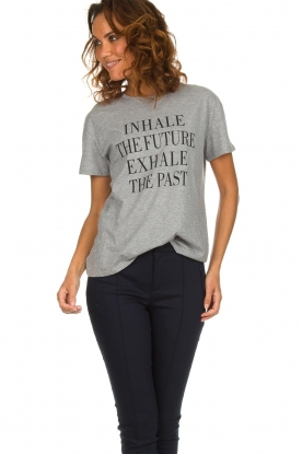 Set |  T-shirt with text print Brett | grey