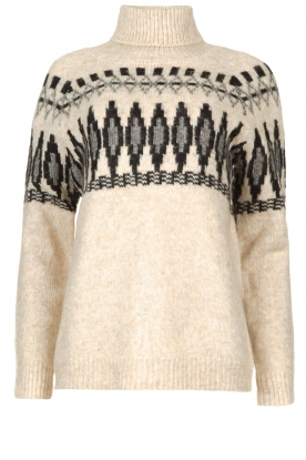 Silvian Heach |  Turtleneck sweater with print Bismarch | natural