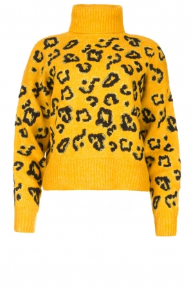 Silvian Heach | Turtleneck sweater with leopard print Trees | yellow