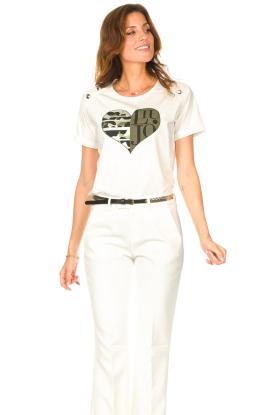 Liu Jo Sport |  Cotton T-shirt with imprint Tyara | white