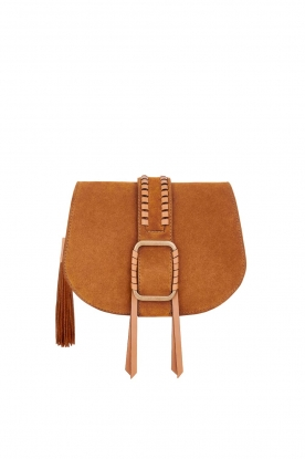 ba&sh |  Suede shoulder bag Medium Teddy | cognac