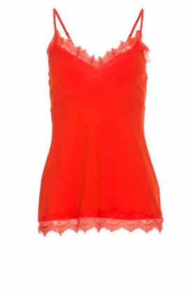 Set | Mouwloze top met kant Chenna | rood