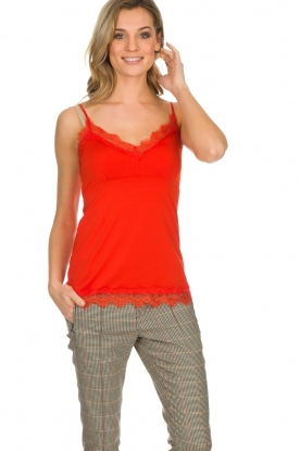 Set |  Sleeveless top with lace Chenna | red