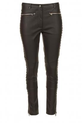 Silvian Heach | Faux leather pants with studded sides Bexifull | black