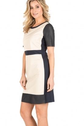 Arma | Leren jurk Holly | beige/blauw