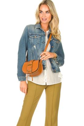 ba&sh |  Leather shoulder bag Small Teddy  | camel