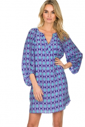 Alice & Trixie |  Silk dress with print Vaya | blue