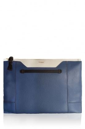 Furla | Leren clutch Pochette Fantasia XL | blauw en wit