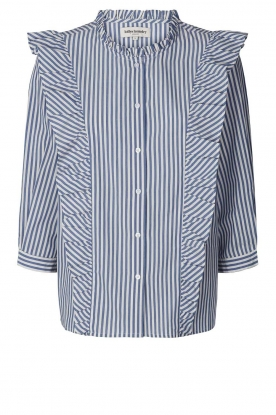 Lolly's Laundry |  Blouse with ruffles Hanni | dark blue
