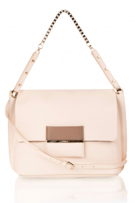 Leather shoulder bag Minerva S | nude
