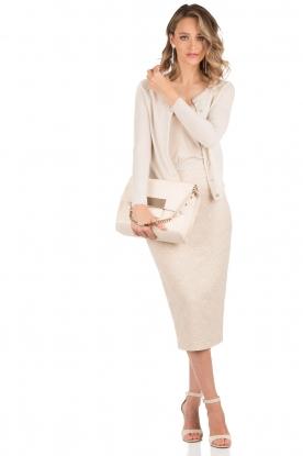 Leather shoulder bag Minerva S | nude