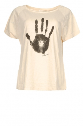 Rabens Saloner | T-shirt with print Filina Palm | natural