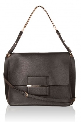Leather shoulder bag Minerva S | black