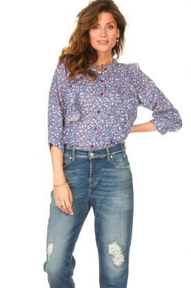 Lolly's Laundry |  Blouse with print Hanni | blue