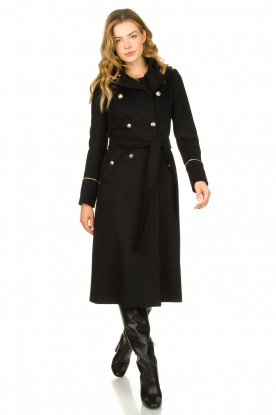 Patrizia Pepe |  Luxury coat with marine buttons Zoe | black